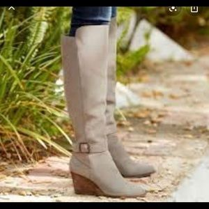 Suede wedge over the knee boots